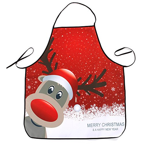 Merry Christmas Apron Elk Santa Claus Decoration Dinner Party Waterproof Apron Xmas Snowman Decor Party Display Gift Baubles Festival Household Home Kitchen Dining Bar Decoration Gadget by Pausseo (4) from Pausseo Christmas Apron