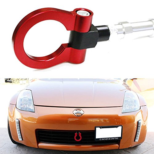 iJDMTOY Sports Red Track Racing Style Aluminum Tow Hook For 2003-2009 Nissan 350Z, 2003-2007 Infiniti G35 - 350z Nissan Anniversary
