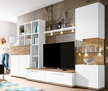 Domina Caris Moderne Wohnwand Weiß / Sanremo Eiche Selbst Zusammenstellen