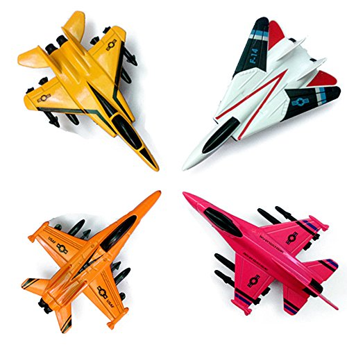 (CORPER TOYS 4 Pieces Army Fighters Diecast Pull-Back Airplanes Playset Military Aircraft Toy Great for Kids Boy Metal Set Plane Collection)