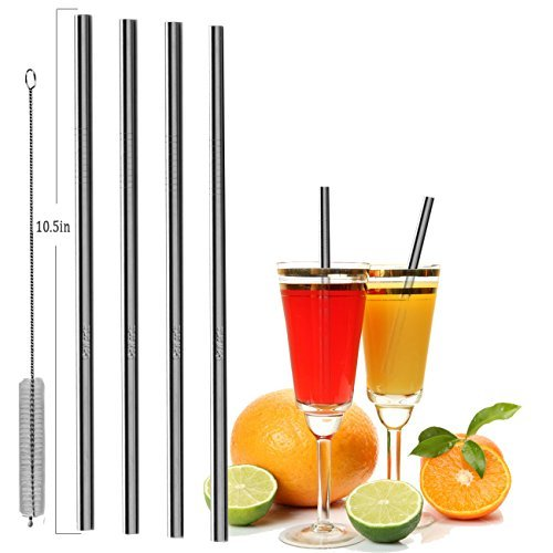 GoWorth Set of 4 Stainless Steel Straight Straws 10.5inch, Safe Reusable Drinking Straws for 20&30 OZ Yeti Tumblers with One Cleaning Brush ...