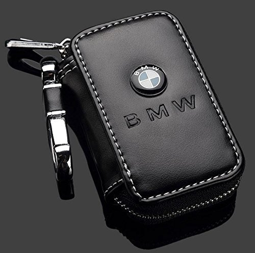 Black Premium Leather Car Key Chain Coin Holder Zipper