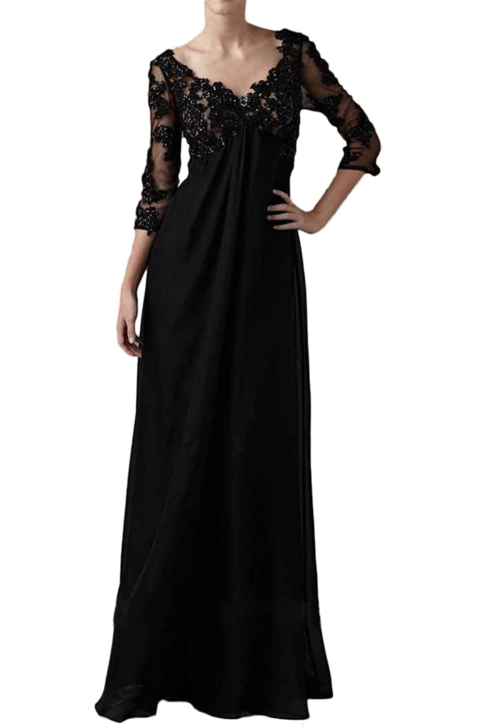 Charm Bridal Black Deep V Chiffon Women Mother of Bride Dress with Long Sleeves