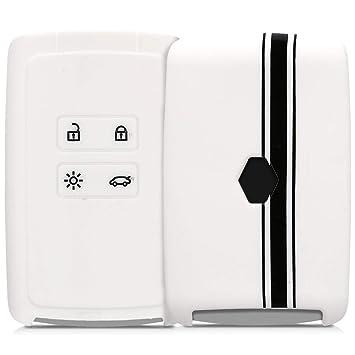 kwmobile Funda para Llave Smart Key de 4 Botones para Coche Renault (Solamente Keyless Go) - Carcasa Protectora [Suave] de [Silicona] - Case de Mando ...