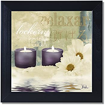 Beautiful Relaxation I Spa Bathroom Black Framed Art Print Poster 12x12