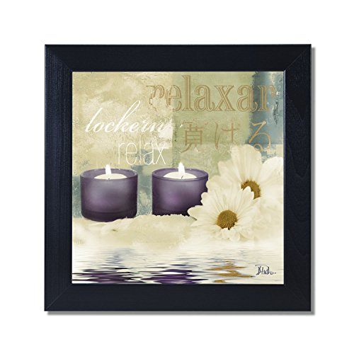 Relaxation I Spa Bathroom Black Framed Art Print Poster 12x12