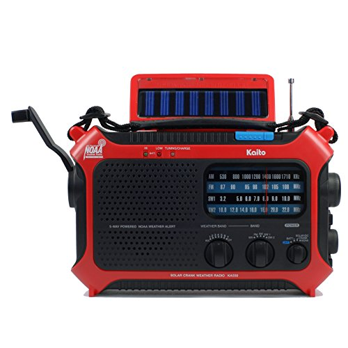 Wave Shelter - Kaito KA550 5-Way Powered AM/FM Shortwave NOAA Weather Emergency Radio with PEAS (Public Emergency Alert System) (Red)