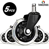 THINKSPARX Rollerblade Style Office Chair Caster Wheel Replacement 3-Inch, Universal Fit Non-Scratch for All Floor Include Hardwood, Smooth Rolling Rotation with 650lb Capacity, 5 Pcs, 4 Set, Black