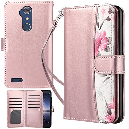 ZTE Zmax Pro Case, Zmax Pro Wallet Case, UrbanDrama Flip Folio Kickstand PU Leather Credit Card Slots Cash Holder Protective Cover Case for ZTE Zmax Pro/ZTE Carry Z981, Floral Rose Gold Review