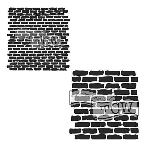 Crafter's Workshop Stencil 2 Pack, Reusable Stenciling Templates for Art Journaling, Mixed Media, and Scrapbooking, TCW790 Micro Bricks & TCW191 Stencil - Wall Brick Stencil