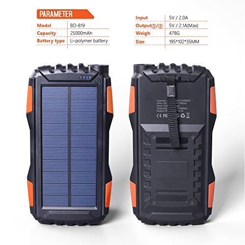 Elzle 25000mAh mobile or portable Solar potential Bank dual USB outcome Battery Bank as a result of strong LED brightness Outdoor Solar Charger cellphone External Battery Shockproof Dustproof for iPhone SeriesSmart PhoneMore Solar Chargers