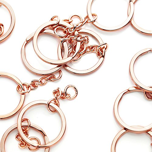 Gold Plated Key Charm - 10 Pieces - 16K Rose Gold Plated Keychain Ring With Extender Chain Keychain Supply Wholesale Jewelry Bulk Discount Keychain Findings - 10PKC (Rose Gold)