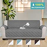 100% Waterproof Oversized Sofa Covers for Living Room Plush Faux Cotton Furniture Protector Slipcovers for Kids, Dogs, Pets, Anti Slip Backing (Seat Width: 78''-Oversized Sofa) - 86'' X 132'' Grey