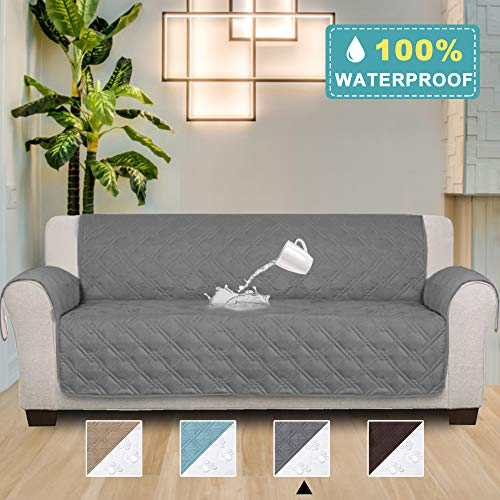 100% Waterproof Oversized Sofa Covers for Living Room Plush Faux Cotton Furniture Protector Slipcovers for Kids, Dogs, Pets, Anti Slip Backing (Seat Width: 78''-Oversized Sofa) - 86'' X 132'' Grey by PrimeBeau (Image #6)
