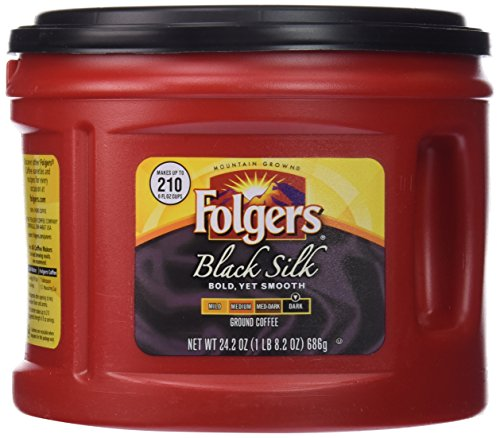 Folgers Black Silk Dark Roast Ground Coffee, 24.2 Ounce