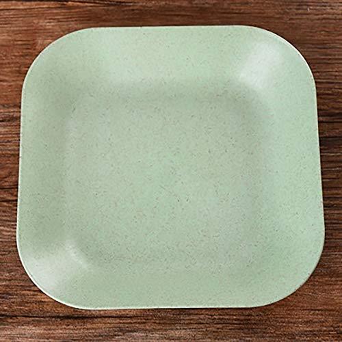 Xelparucoutdoor Platos de mantequilla de pan de paja de trigo, bandeja de desayuno protección del medio ambiente, verde