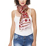Scarf for Women 100% Silk Summer Fall Wedding Party Event by Melifluos Fashion Large Lightweight Red Brown Pattern Scarves Scarfs (NS19-15)