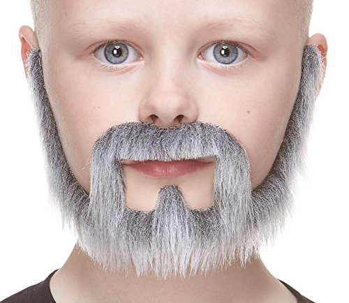 Mustaches Fake Beard, Self Adhesive, Novelty, Small Squatter False Facial Hair, Costume Accessory for Kids, Gray with White Color -