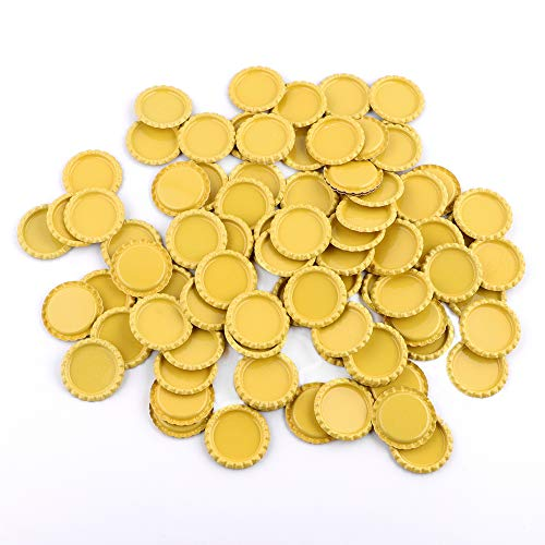 HAWORTHS 100 PCS Flat Decorative Bottle CaP Craft Bottle Stickers Double Sideds Printed for Hair Bows, DIY Pendants or Craft ScraPbooks Yellow
