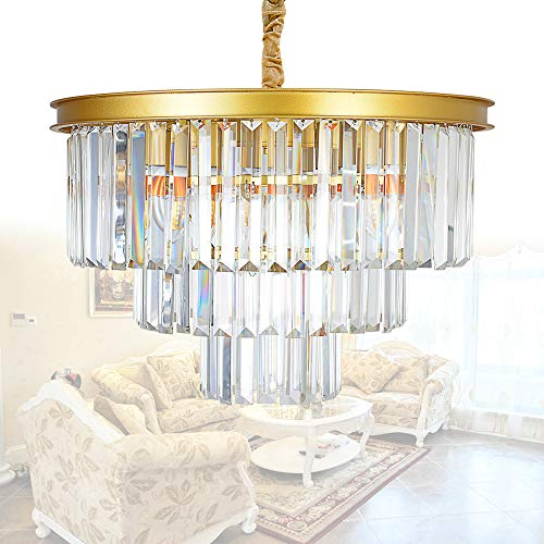 MEELIGHTING Crystal Gold Modern Chandeliers Lights Vintage Pendant Ceiling Light Traditional Chandelier Lighting Fixture 3-Tier 8Lights for Dining Room Living Room Kitchen Island Bedroom W20