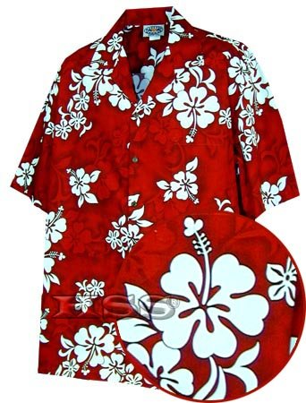 Pacific Legend Tropical Shirts White Hibiscus in Red XL 410-3156
