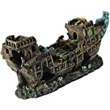 Decoration navire - TOOGOO(R)Wreck Aquarium deco cruise ship shipwreck fish resin 24x9.5x6.5cm