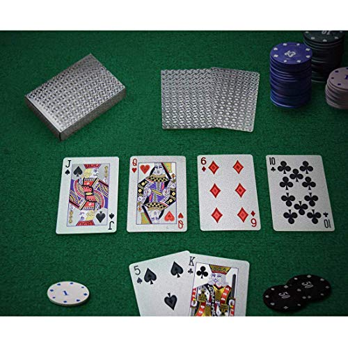 Joyoldelf Silver Foil Poker Playing Cards, Waterproof Deck Poker Card with Gift Box, Perfect for Party and Game