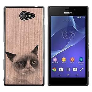 Funda Cubierta Madera de cereza Duro PC Teléfono Estuche / Hard Case for Sony Xperia M2 / Phone Case TECELL Store / Gato triste infeliz Funny Pet Animal Unhappy Sad Cat Pet Funny Animal