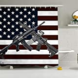 ALDECOR American Flag and Guns Shower Curtain Black and White, Fabric Waterproof Bathroom Decor Set with Hooks, 60x72 inch