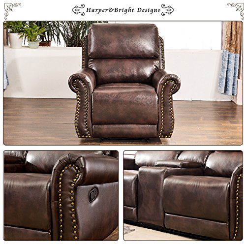Harper & Bright Designs Sectional Recliner Sofa Set (Brown) (Chair & Loveseat)