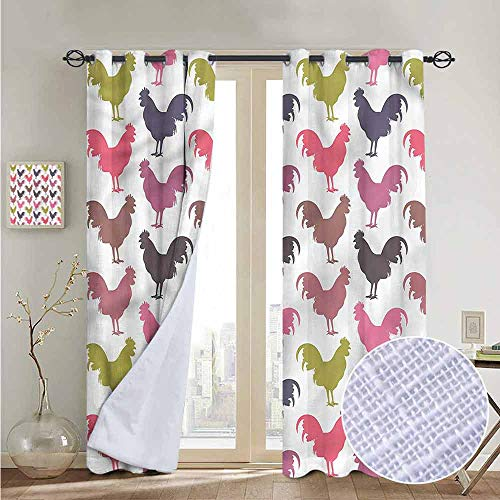 NUOMANAN backout Curtains for Bedroom Gallus,Domestic Hen Design Rooster,Pocket Thermal Insulated Tie Up Curtain 52