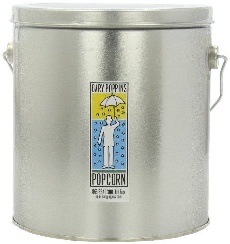 Gary Poppins Handcrafted Popcorn, 1 Gallon Tin, Caramel Cheddar Kettle (Divided Tin)