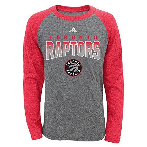 NBA Toronto Raptors Youth Boys 8-20 L/S Tri-Blend Raglan, Heather Grey, Large (14/16)