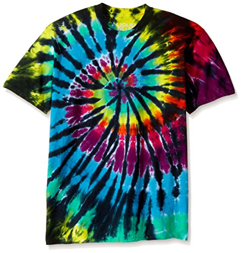 (Liquid Blue Men's Rainbow Spiral Streak T-Shirt, Tie Dye/Multi, Small )
