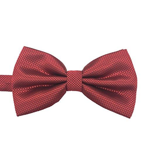 Pleated Silk Necktie (M2cbridge Men's Double Pleated Grid Bow Tie Formal Dress Plain Tie (Burgundy))