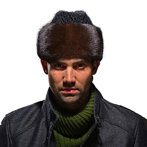 URSFUR Men's Mink Fur Russian Cossack Hat with Lamb Fur Top (Coffee) by URSFUR