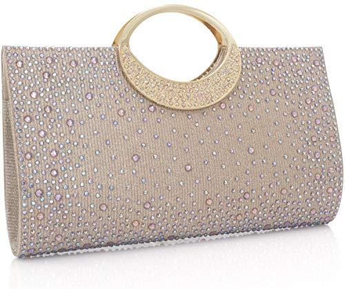 - Dexmay Shiny Evening Bag for Wedding Party Elegant Crystal Rhinestone Clutch Purse Champagne