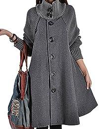 Women's Mid Long Single Breasted Cowl Neck Loose Woolen Cloak Coat