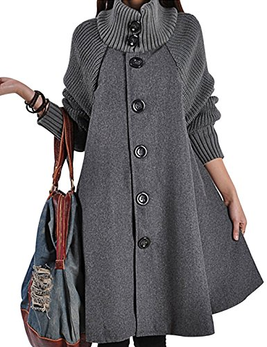 Gihuo Women's Mid Long Single Breasted Cowl Neck Loose Woolen Cloak Coat (One Size, Grey)
