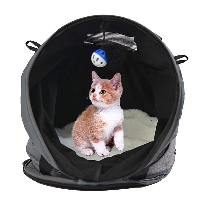 Festnight Gato Juguetes Túnel 3 en 1 Portador de Mascotas Plegable Juego Cama Casa Surgir Nido Cueva Expandible con Cojín Algodón Caliente Hogar para Dormir ...