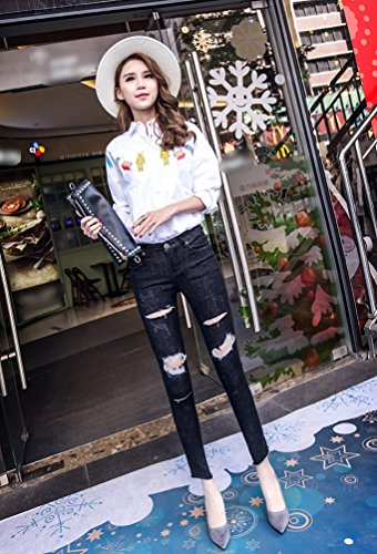 Skinny Dchir lgant Noir Dexinx Extensible Minceur Butt Dames Fit t Jeans Levage Extensible Pantalons xwSqqp0E6