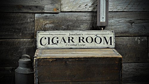 Custom Cigar Room Cocktail Lounge Wooden Sign - 5.5 x 24 (Cigar Lounge)