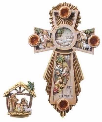Roman 75366 Advent Wreath Cross With Holy Family In Center - 11.25 ()