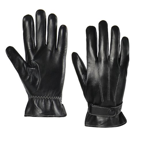 Men's Classic Winter Touchcreen Genuine Leather Motorcyle Gloves with Belt (Black, (Gloves Classic Belt)