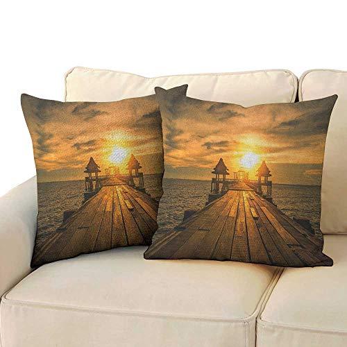 RenteriaDecor Beach,Pillow Covers Wooden Dock Serene Bangkok Bay Morning Sunshine and Ocean Picture Print 24