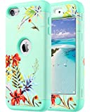 Image of ULAK Case for iPod Touch/iPod Touch 6 & 5, Heavy Duty Protection Shockproof High Impact Knox Armor Case Cover Protective Case for Apple iPod Touch 5 6th Generation (Mint+Tropical Flower)