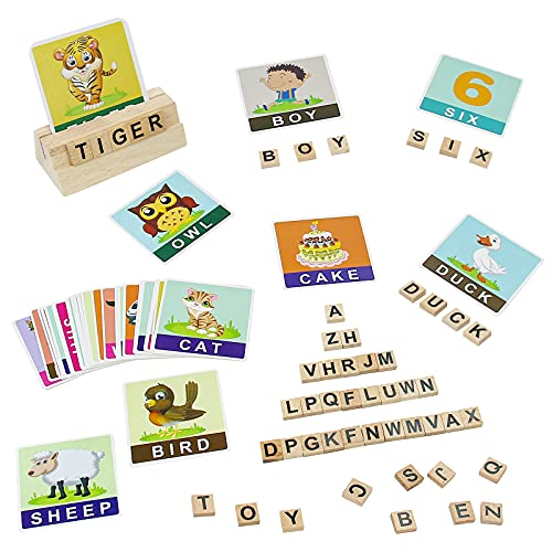 나무로 되는 문자 블록을 알파벳 플래시 카드를 위한 유아 2-5 퍼즐 철자 일치하는 게임을 유치원 교육 몬테소리 장난감 유아를 위한 말하기와 철자 생일 선물을 위한 소년 여자