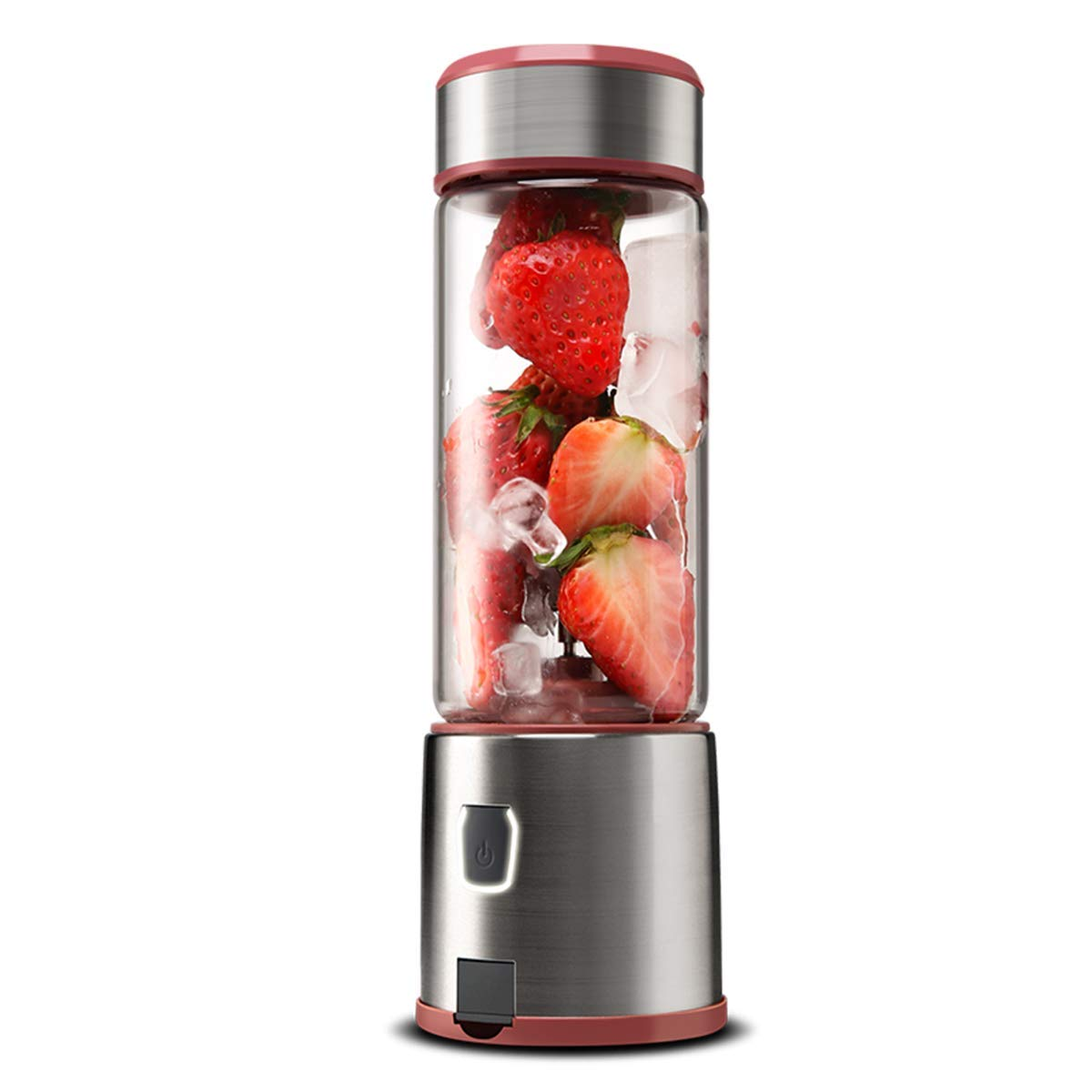 Portable Blender, TOPQSC Smoothie Blender 15oz USB Rechargeable 5200mAh, Personal Blender with Durable Glass, Stainless blades 16500rpm, Perfect for Shakes,Smoothies,Baby Food, FDA/BPA Free (Pink) by TOPQSC