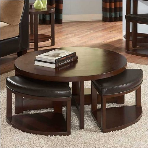 - Homelegance Brussel II Round Cocktail Table with 4 Ottomans in Cherry