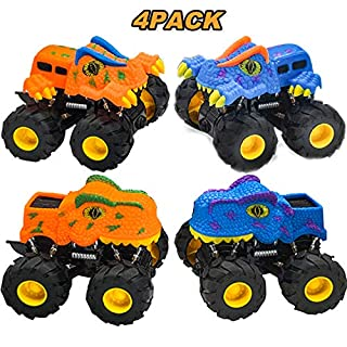 4Pack Pull Back Dinosaur Cars with Lights Toys for Kids Toddlers Boys Girls Birthday Christmas Party